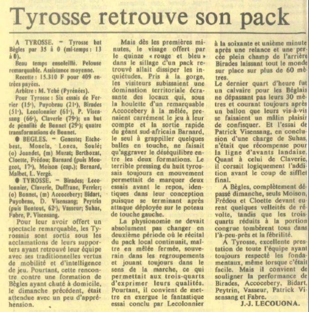 article tyrosse begles 86
